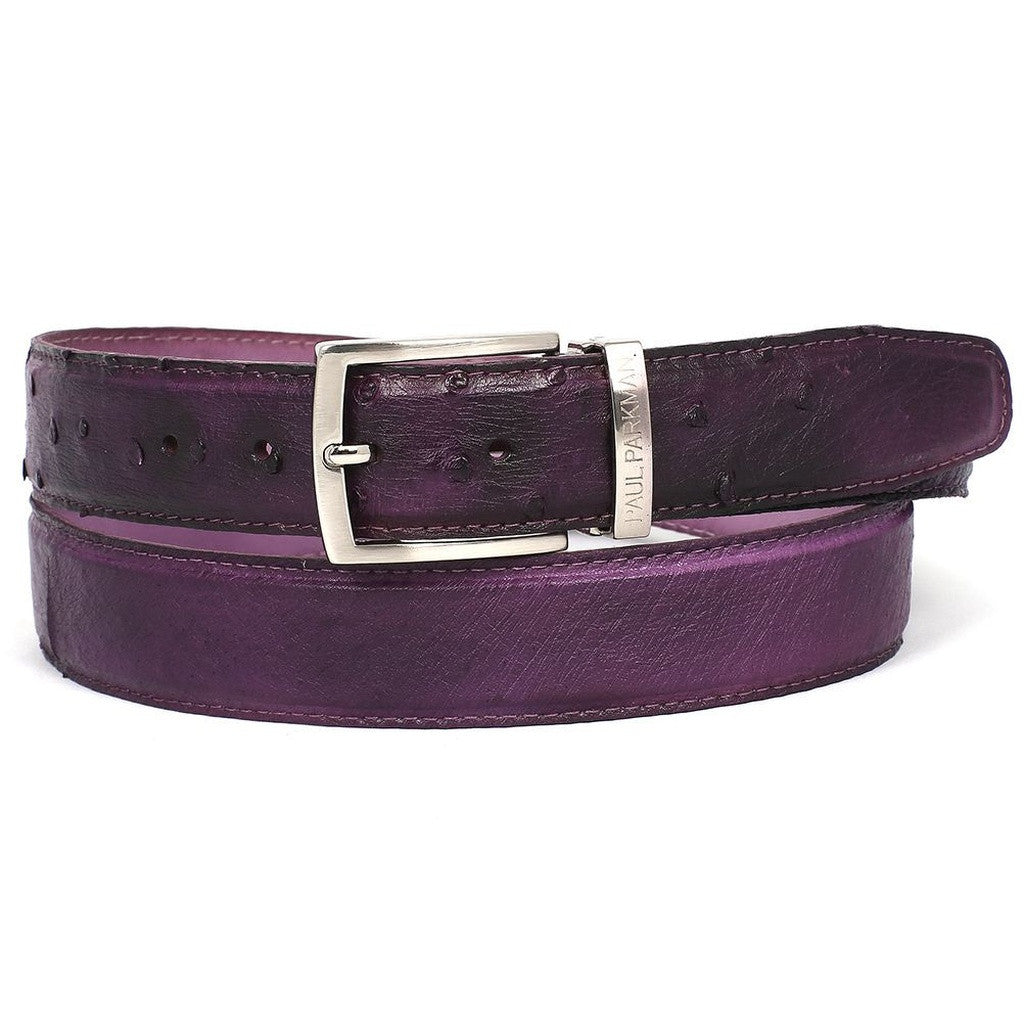 PAUL PARKMAN Men's Purple Genuine Ostrich Belt - Ceiba Imports