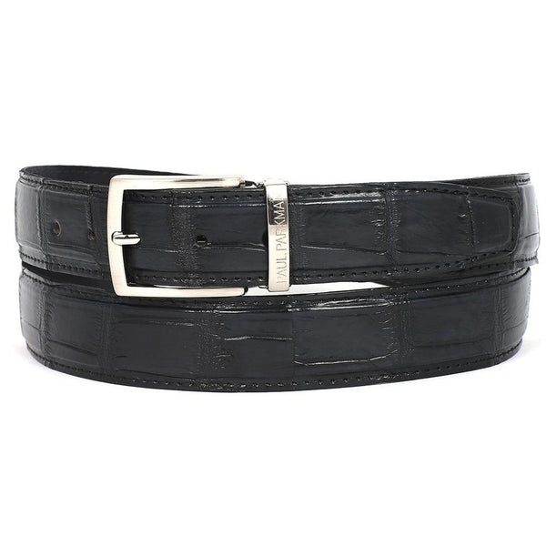 PAUL PARKMAN Men's Black Genuine Crocodile Belt (ID#B05-BLK) - Ceiba Imports