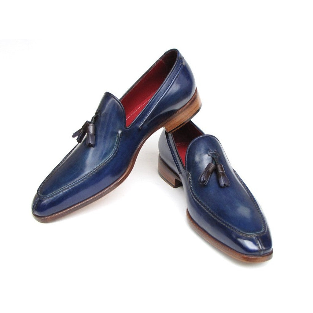 Paul Parkman Men's Tassel Loafer Blue Leather - Ceiba Imports