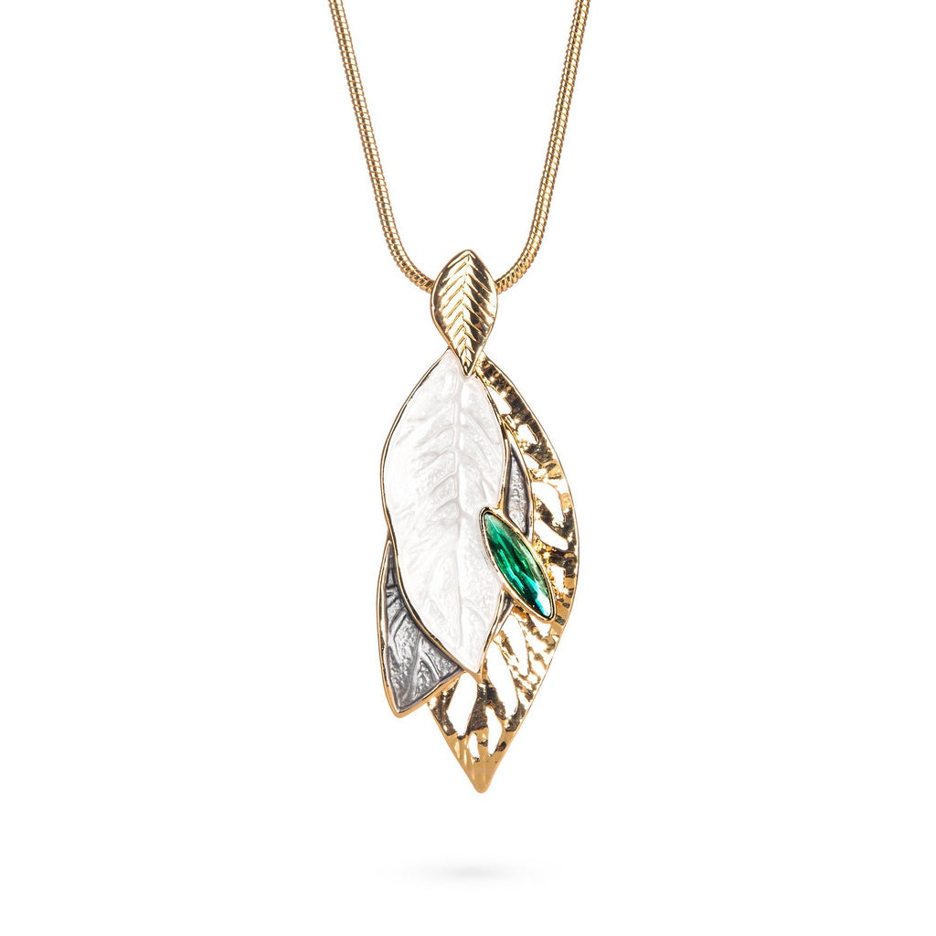 Pristine Leaf Necklace with Green Drop - Ceiba Imports