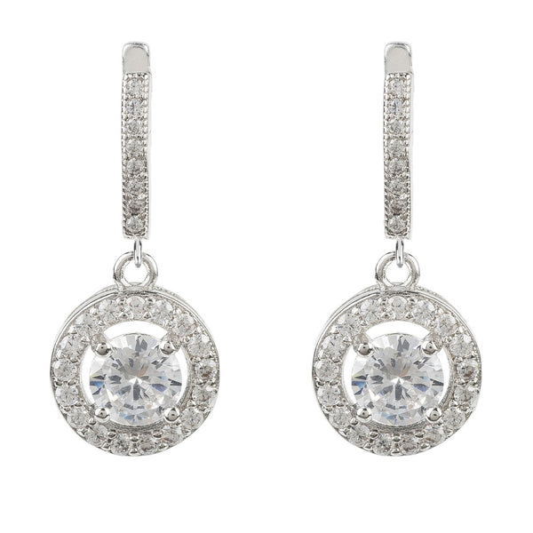 Silver CZ Drop Circle Earring - Ceiba Imports