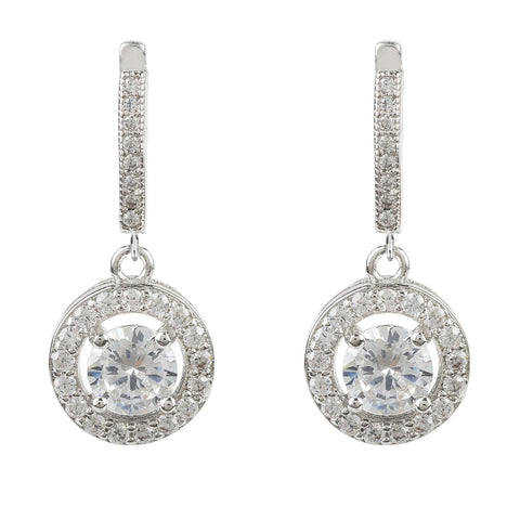 Silver CZ Drop Circle Earring