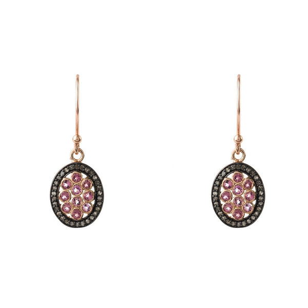 Diamond Oval Pink Earring - Ceiba Imports