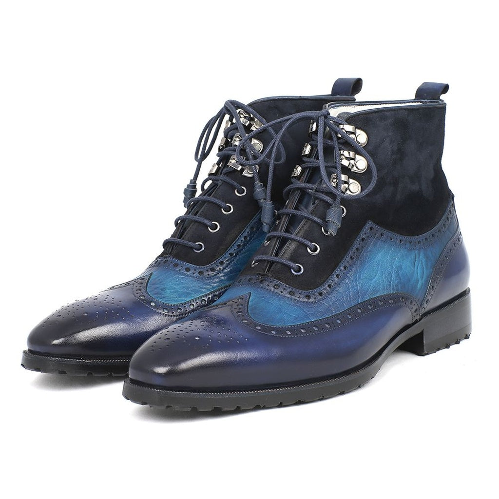 Paul Parkman Men's Wingtip Boots Blue Suede & Leather - Ceiba Imports