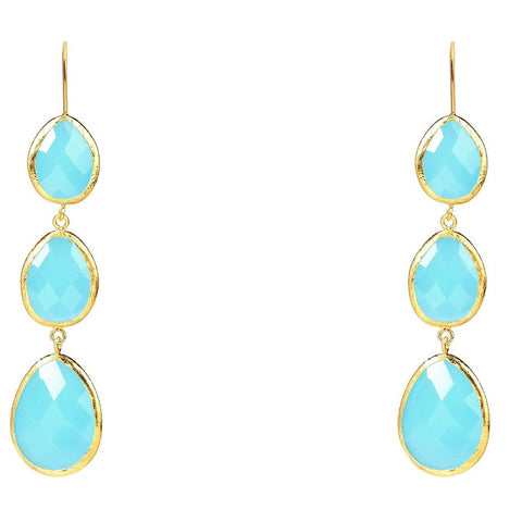 Gold Triple Drop Earring Light Blue Chalcedony