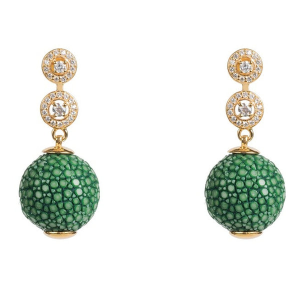 Medusa Collection Stingray Ball Earring With Zircon design Emerald Green - Ceiba Imports