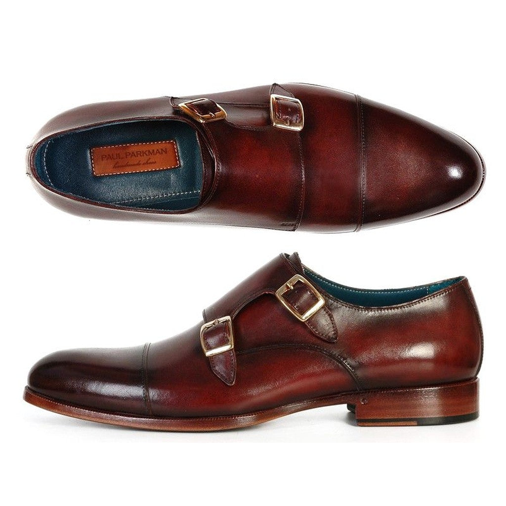 Paul Parkman Men's Cap-Toe Double Monkstraps Brol Dark Brown - Ceiba Imports
