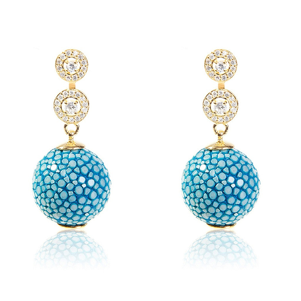 Medusa Collection Stingray Ball Earring With Zircon Design Ocean - Ceiba Imports