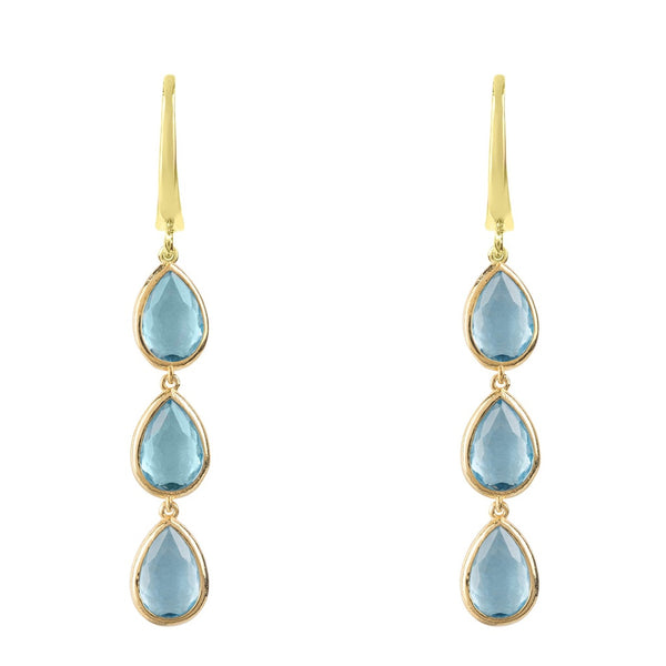 Sorrento Triple Drop Earring Gold Blue Topaz - Ceiba Imports