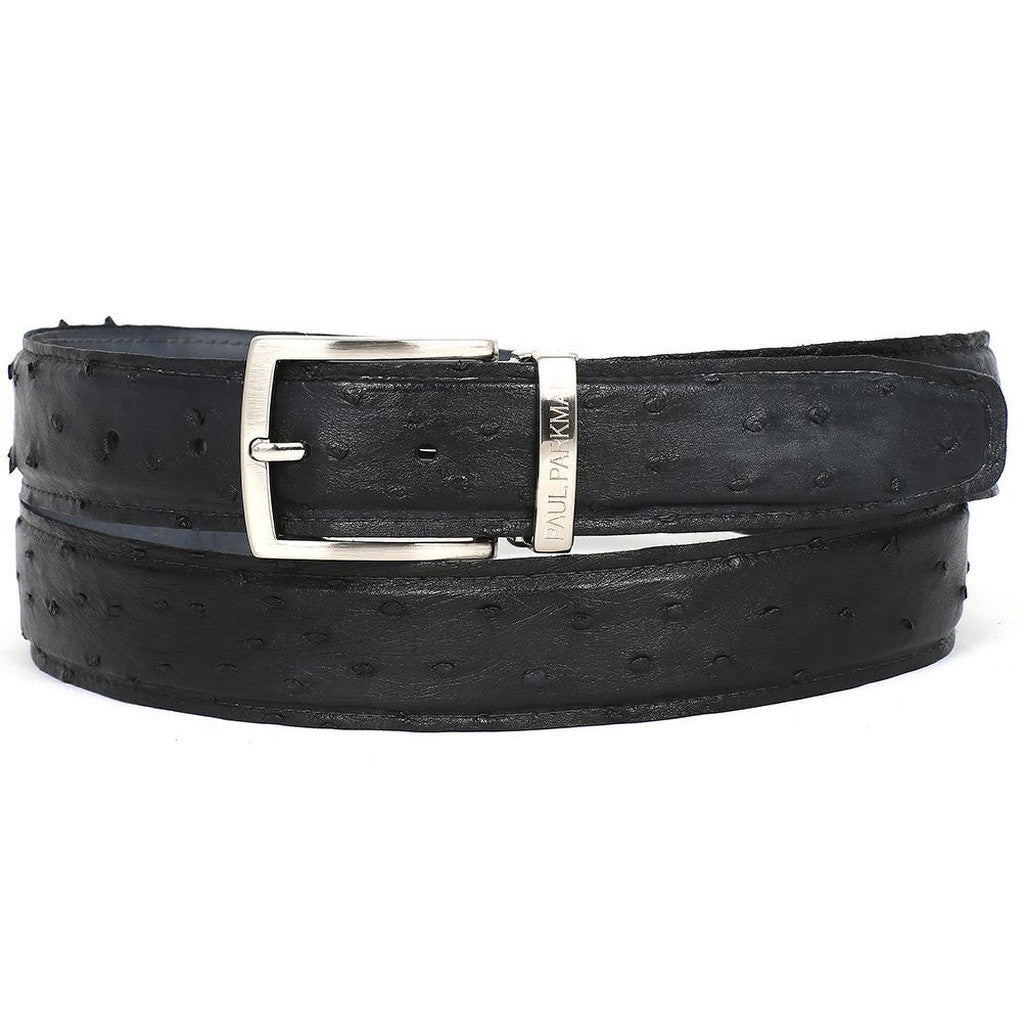 PAUL PARKMAN Men's Black Genuine Ostrich Belt - Ceiba Imports
