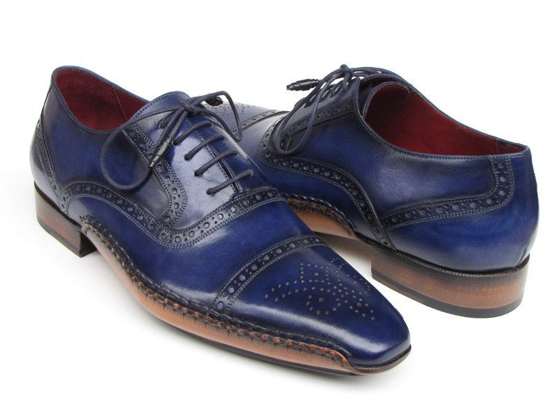 Paul Parkman Men's Captoe Navy Blue Hand Painted Oxfords - Ceiba Imports