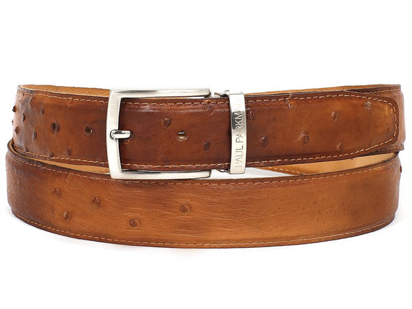 Paul Parkman Men's Camel Genuine Ostrich Belt - Ceiba Imports