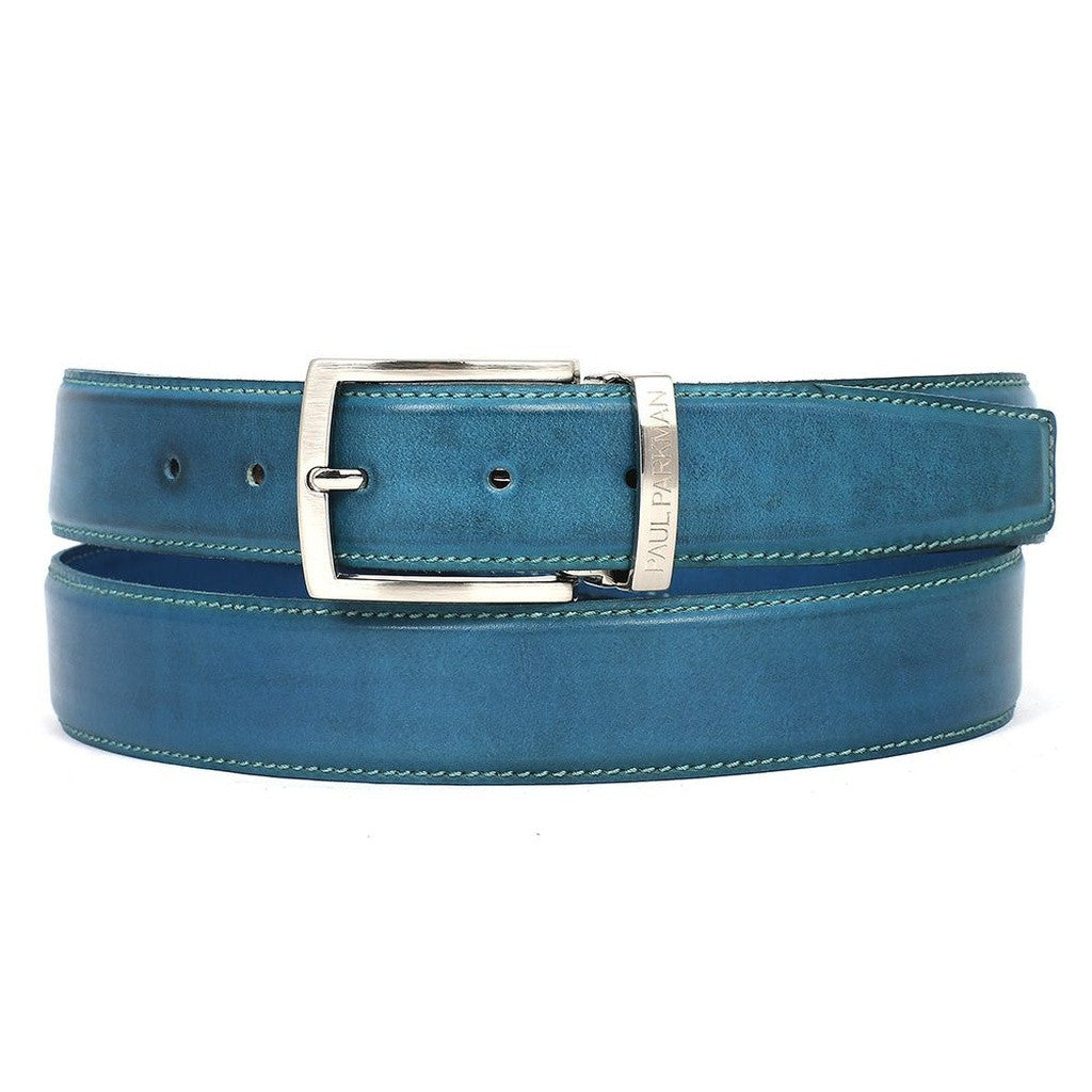 PAUL PARKMAN Men's Leather Belt Hand-Painted Sky Blue - Ceiba Imports
