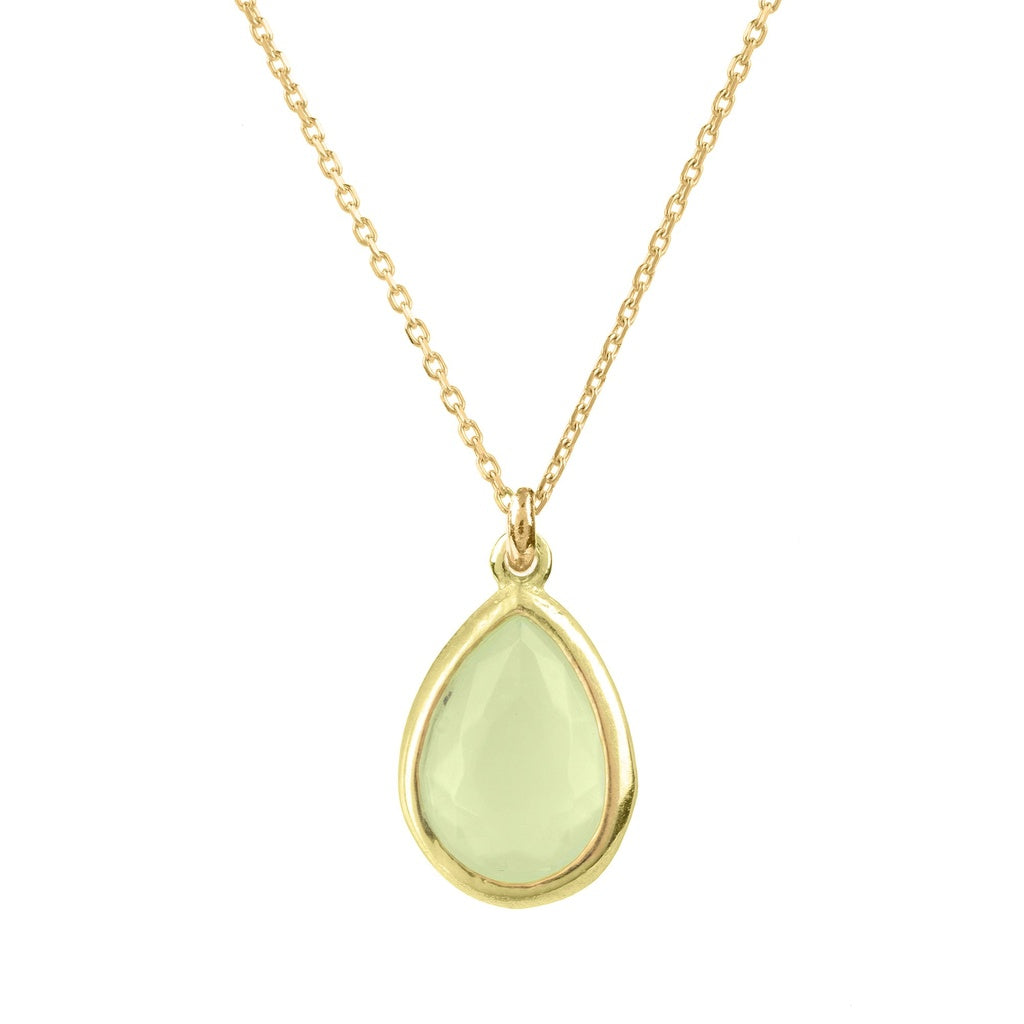 Pisa Mini Teardrop Necklace Gold Aqua Chalcedony - Ceiba Imports