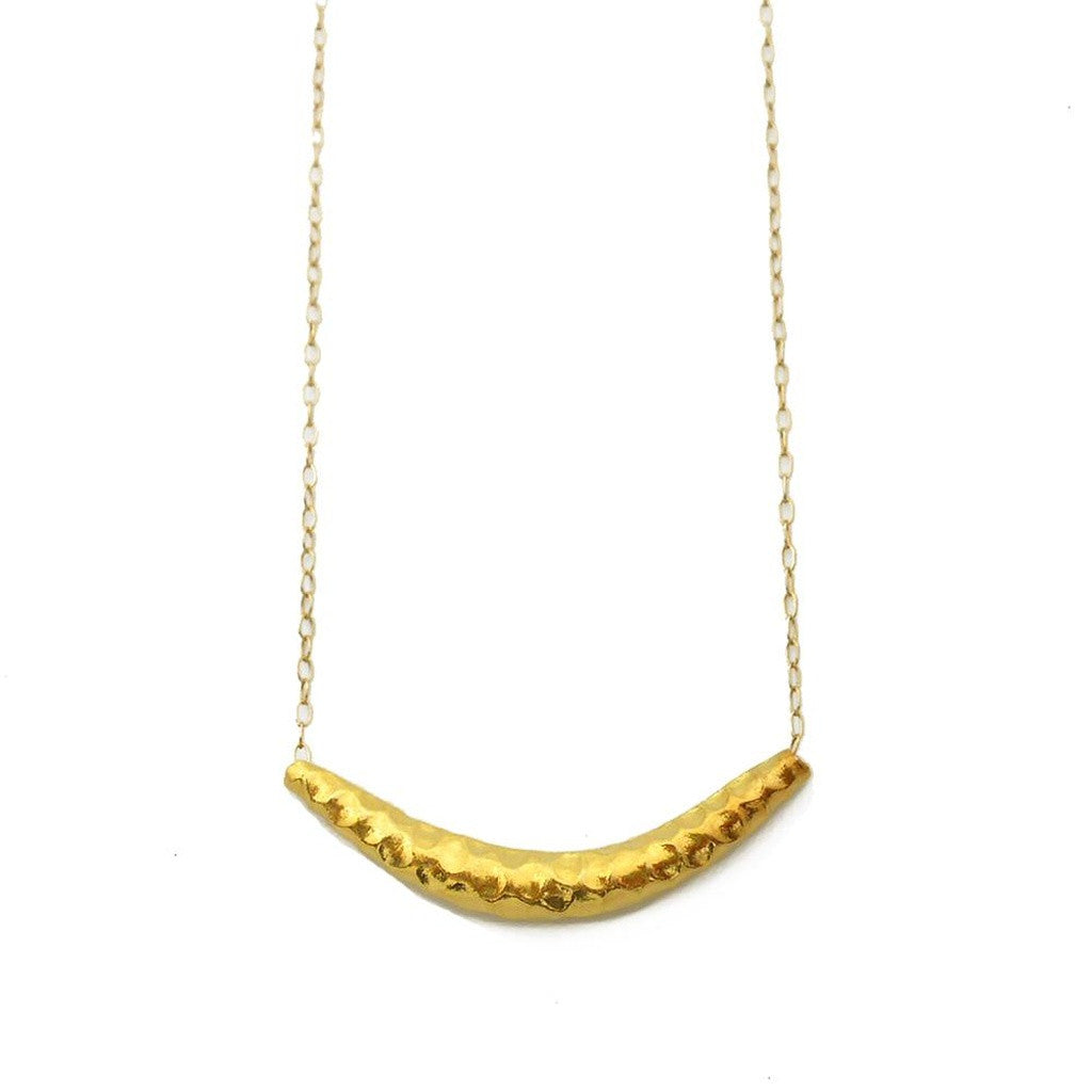Vermeil Hammered Bar Necklace - Ceiba Imports
