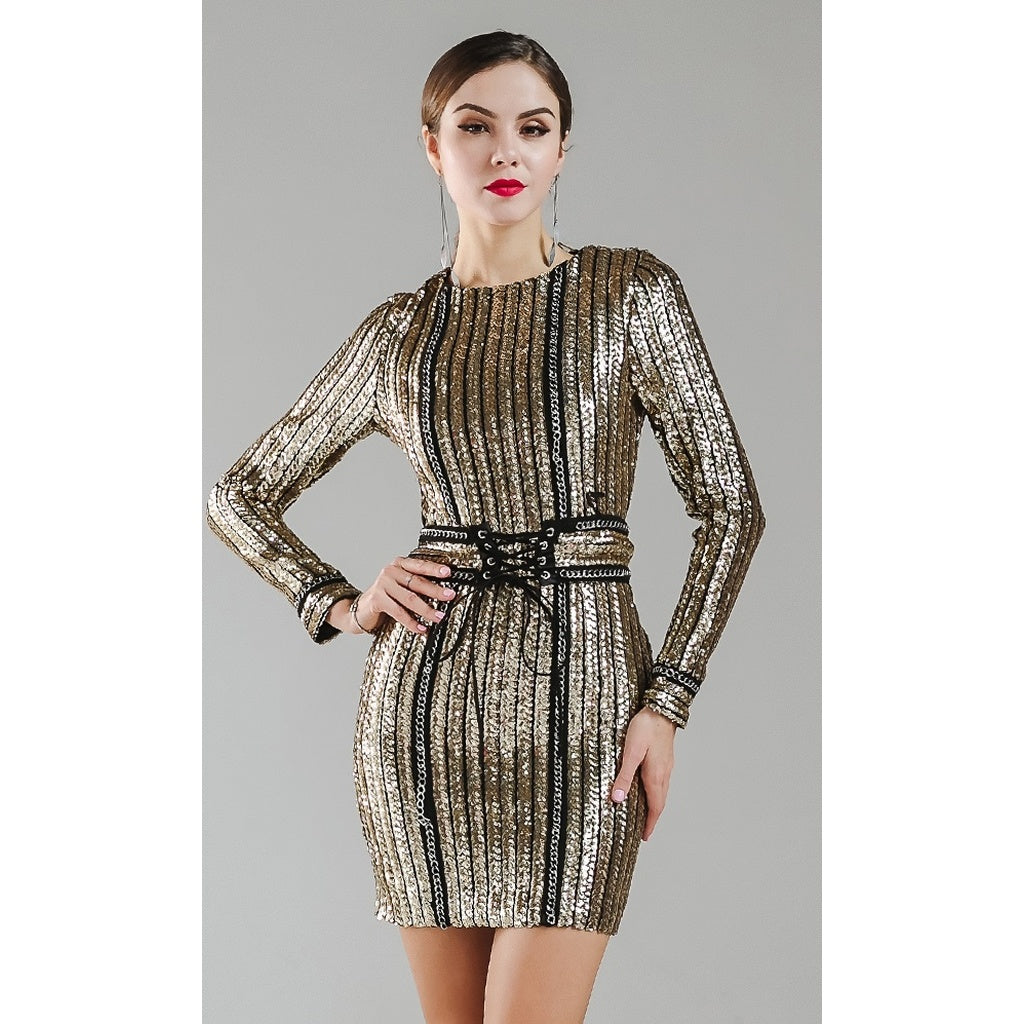 Gold Chain Sequin Dress - Ceiba Imports
