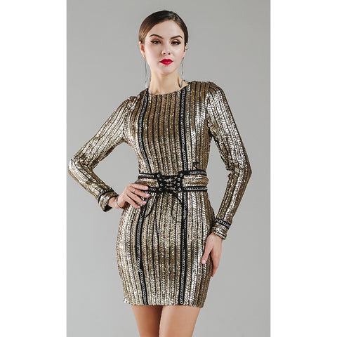 Gold Chain Sequin Dress