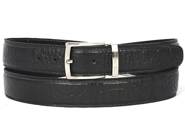 Paul Parkman Men's Crocodile Embossed Calfskin Leather Belt Hand-Painted Black - Ceiba Imports