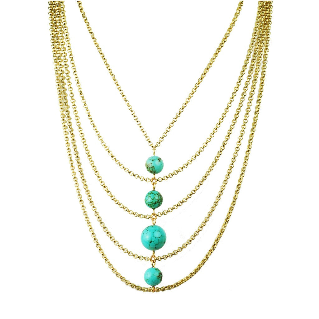 Turquoise Center Bib Necklace - Ceiba Imports