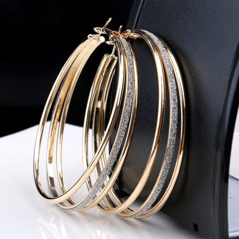Lovely Plated Three Circles Hoops