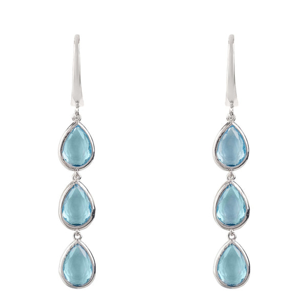 Sorrento Triple Drop Earring Silver Blue Topaz - Ceiba Imports