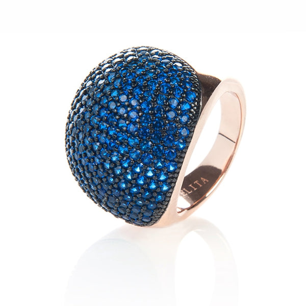 22ct Rose Gold Vermeil Micro Pave Statement Cocktail  Ball Ring - Blue Zircon