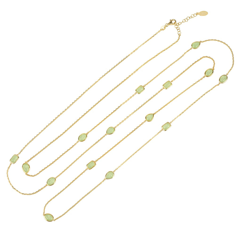 Venice 120cm Long Chain Necklace Gold Aqua Chalcedony - Ceiba Imports
