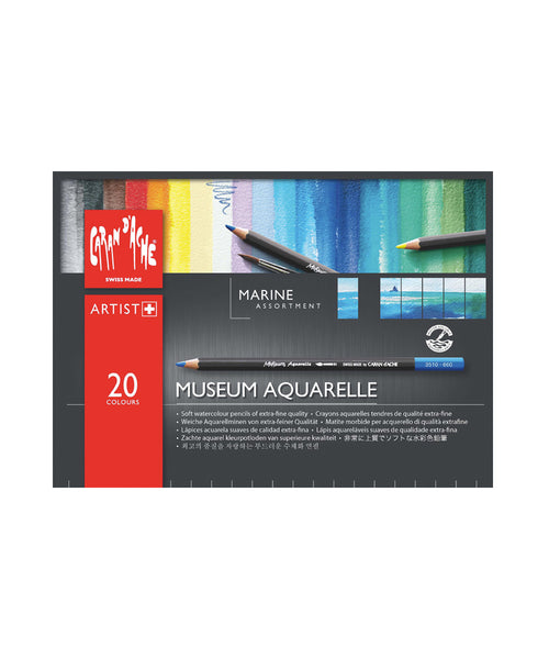 Caran d'Ache Museum Aquarelle Marine Coloured Pencils - Set of 20
