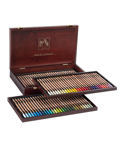 Caran d'Ache Pastel Pencils Coloured Pencils - Set of 84 in Luxury Wooden Box