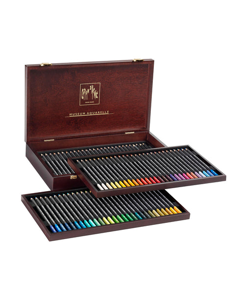 Caran d'Ache Museum Aquarelle Coloured Pencils - Set of 76 in Luxury Wooden Box