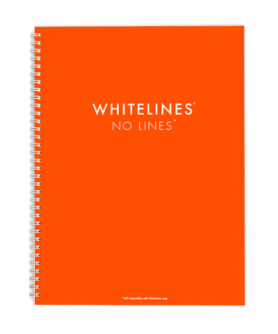 Whitelines Large (A4) Spiral Bound Notebook - No Lines!