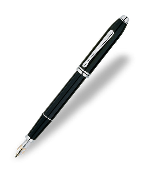 Cross Townsend Fountain Pen - Black Lacquer with Rhodium Plated Trim