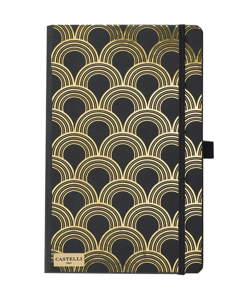 Castelli Black & Gold Collection Notebook - Art Deco Gold