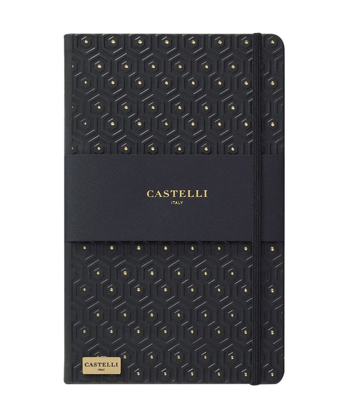Castelli Black & Gold Collection Notebook - Honeycomb Black & Gold