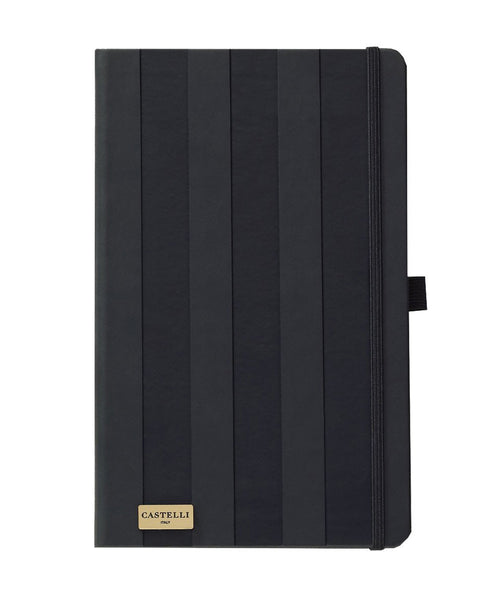 Castelli Black & Gold Collection Notebook - Stripes Black