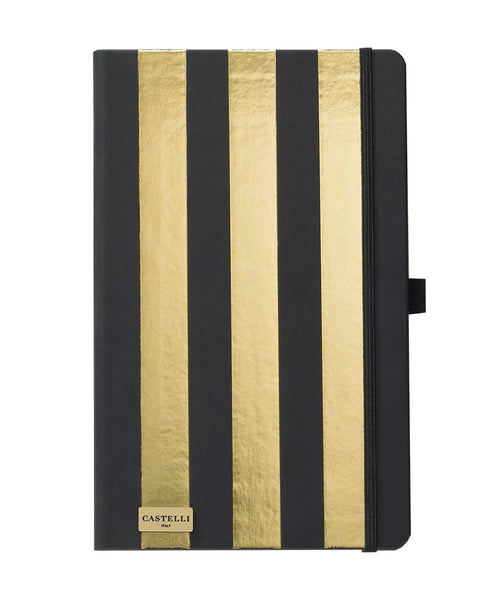 Castelli Black & Gold Collection Notebook - Stripes Gold