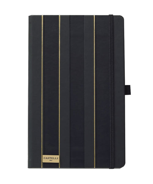 Castelli Black & Gold Collection Notebook - Stripes Black & Gold