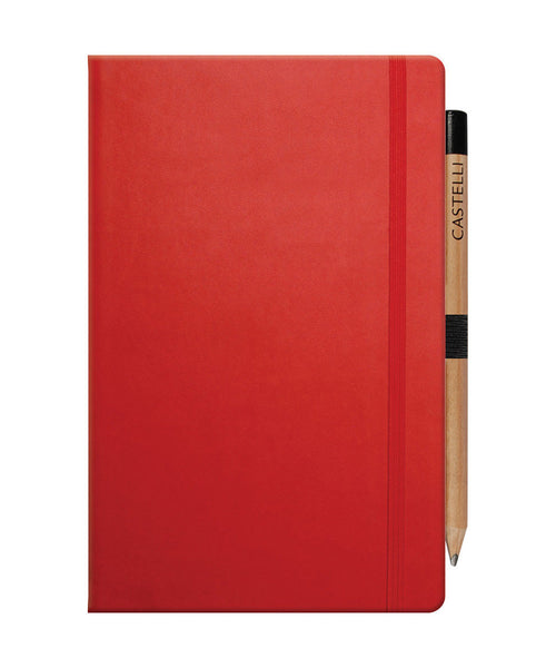 Castelli Tucson Medium Ruled Notebook - Coral Red