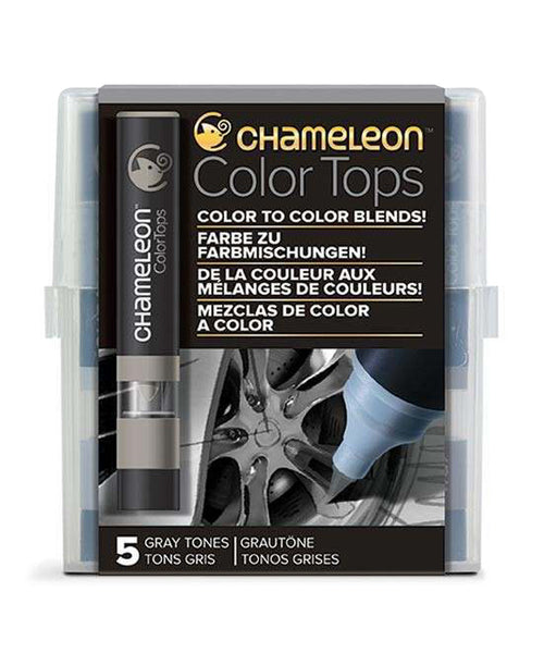 Chameleon Color Tops - 5 Assorted Gray Tones