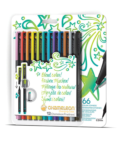Chameleon Fineliner Pens - 12 Assorted Bright Colours