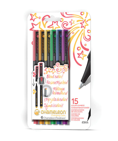 Chameleon Fineliner Pens - 6 Assorted Primary Colours