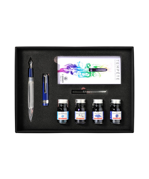 J Herbin Tempête Fountain Pen Set with Ink Selection - Blue