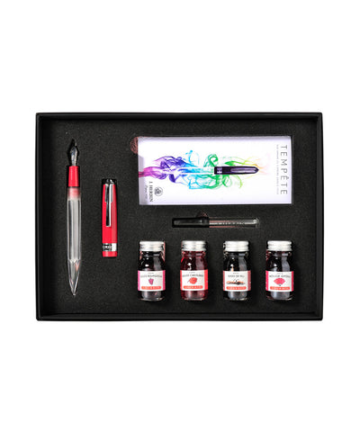 J Herbin Tempête Fountain Pen Set with Ink Selection - Red