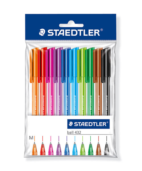 Staedtler 432 Ballpoint Pens - 10 Assorted Colours
