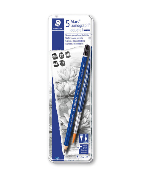 Staedtler Mars Lumograph Aquarell Pencil - Assorted Tin of 5