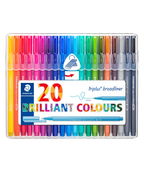 Staedtler Triplus Broadliner Pens - 20 Assorted Colours