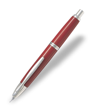 Pilot Capless Rhodium Trim Fountain Pen - Red
