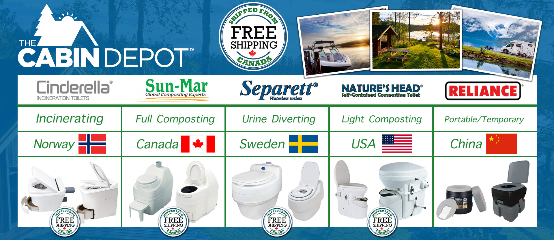 Canada's Off-grid composting toilet leader + incinerating toilets, Sun-Mar, Nature's Head, Cinderella