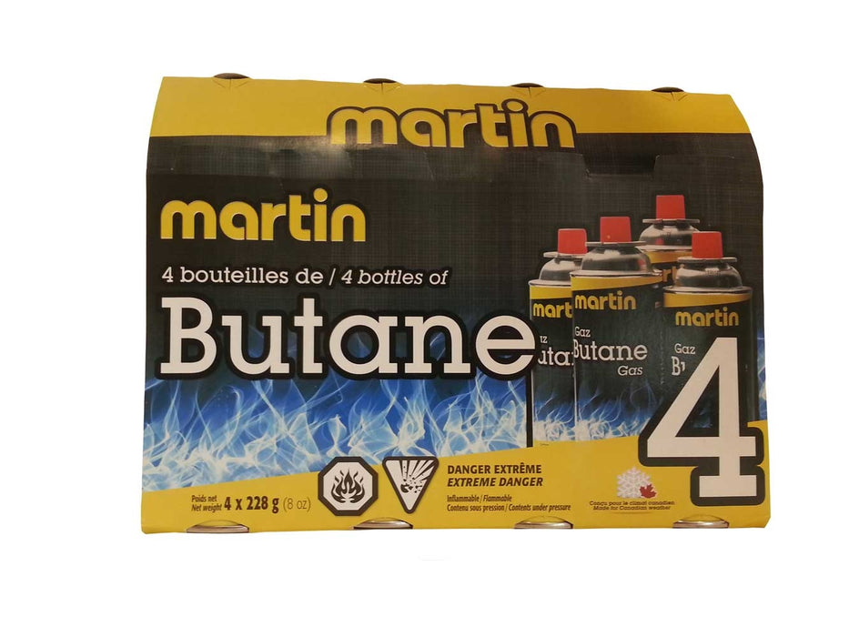Martin Butane Cartridge / Bottle 228g x4 Leisure The Cabin Depot- The Cabin Depot Off-Grid Off Grid Living Solutions Cabin Cottage Camp Solar Panel Water Heater Hunting Fishing Boats RVs Outdoors