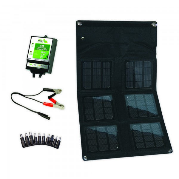 Nature Power 18W Folding Solar Panel with 8 Amp Charge Controller Charging Solutions The Cabin Supply Depot- The Cabin Depot Off-Grid Off Grid Living Solutions Cabin Cottage Camp Solar Panel Water Heater Hunting Fishing Boats RVs Outdoors